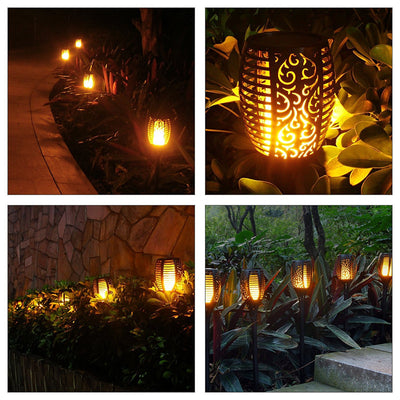 Solar Torch Lights Waterproof Dancing Flickering Flame Solar Lights Landscape Decoration Lighting Dusk to Dawn Auto On/Off Security Solar Flame for Garden Patio Pathway (2-Pack)