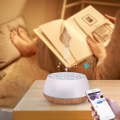 Beauty Instrument Aroma Bluetooth Speaker Aromatherapy Diffuser ,Bluetooth Ultrasonic Air Humidifier 400ML Aroma Diffuser Control by APP