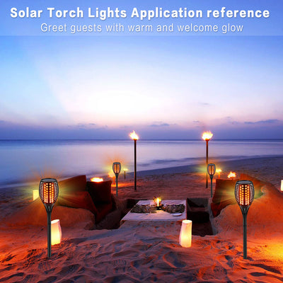 Solar Torch Lights Upgraded-42.9 inch Flickering Flames Solar Lights Outdoor Waterproof Landscape Decoration Lighting Dusk to Dawn Auto On/Off Garden Lights for Patio Pathway Driveway 2 Pack