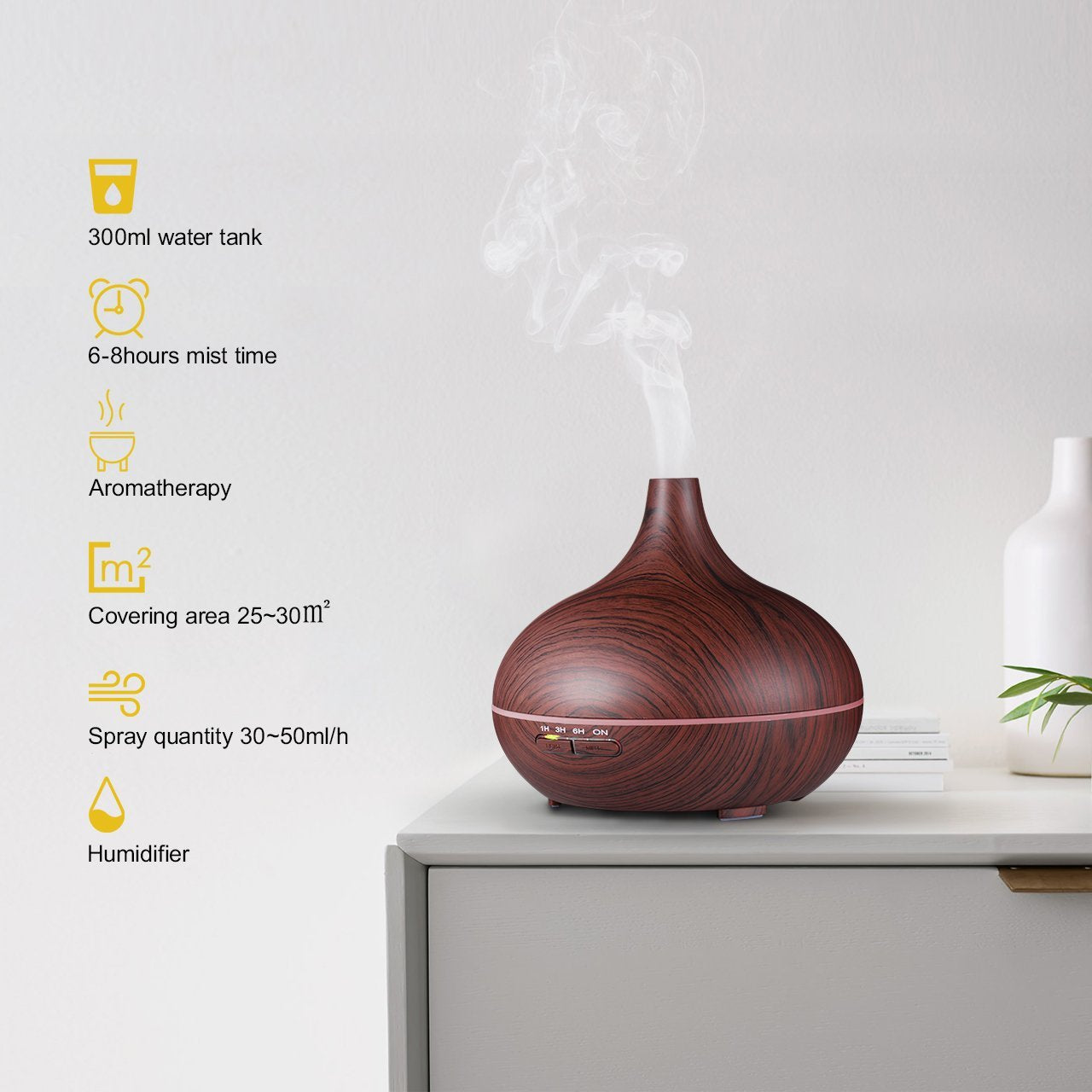 300ml Cool Mist Humidifier Ultrasonic Aroma Essential Oil Diffuser for Office Home Bedroom Living Room Study Yoga Spa ttle