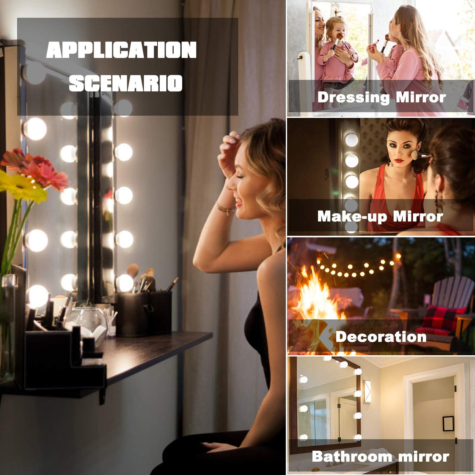 Hollywood Vanity Mirror Light Bulb USB Port LED Mirror Makeup String Light Kit For Dressing Bathroom Bedroom Touch Switch Dimmer