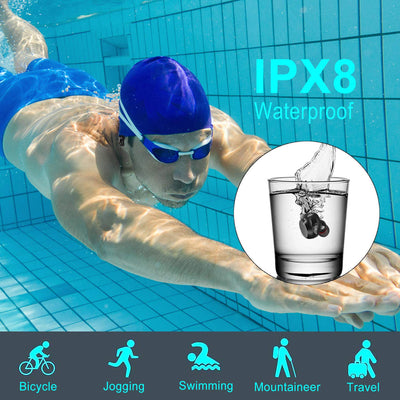IPX8 Waterproof, 3000mAh charging box, BT5.0 True Stereo Touch Wireless Earphones Earbuds Headset with two Microphones