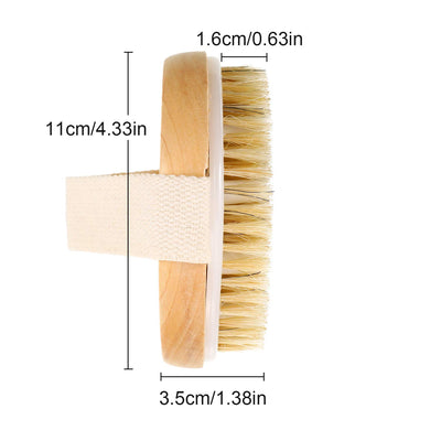 100% Round Wood Natural Boar Bristles Body Massager Back Bath Scrubber Soft Back Body Brush