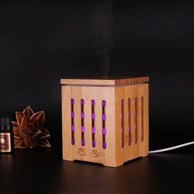 200ml Aromatherapy Essential Oil Diffuser Humidifier with 7 Color LED Lights and Waterless Auto Shut-off- Wood Grain