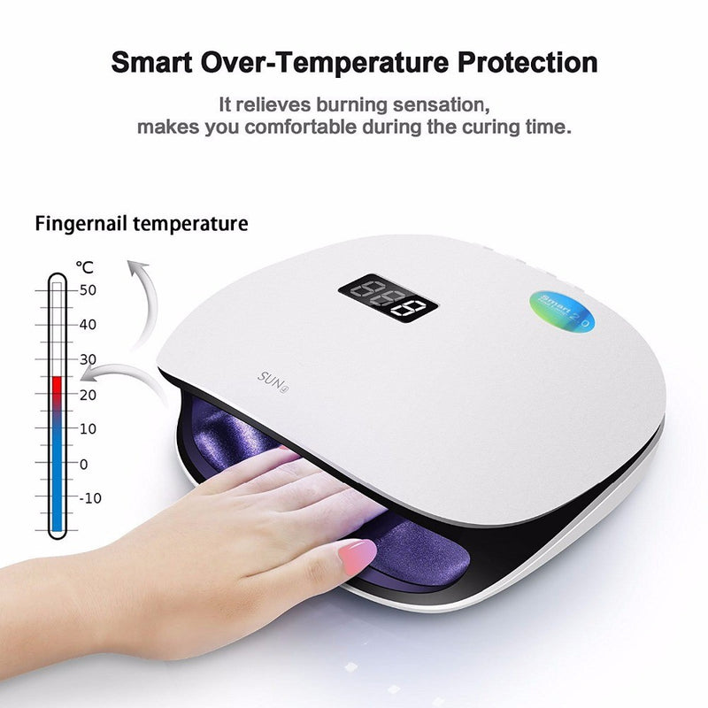 48W UV LED Light Lamp Nail Dryer for Gel Polish with Auto Sensor Professional Nail Art Tools (Black)