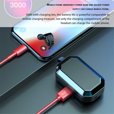 Top quality touch control x6 tws bt 5.0 IPX6 waterproof 3000mAh TWS 5.0 wireless headphone earphone with microphone for iphoneX