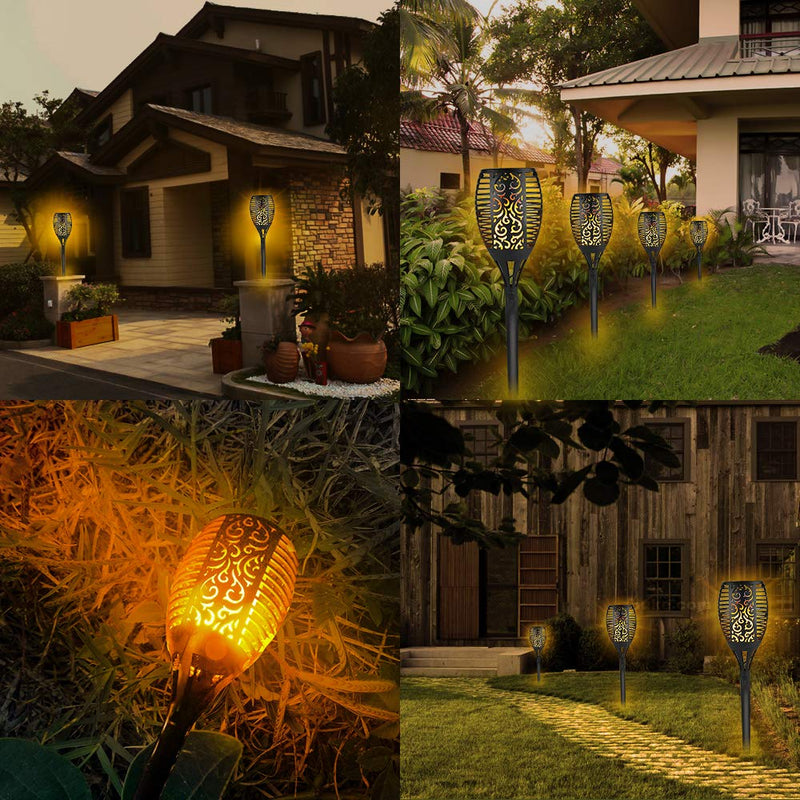 Solar Lights, Waterproof Flickering Flames Torches Lights Outdoor Landscape Decoration Lighting Dusk to Dawn Auto On/Off Security Torch Light for Garden Patio Deck Yard Driveway, 2 Pack