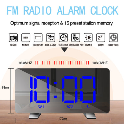 "7"" Large LED FM Radio Digital Alarm Clock With Dual Alarm Clock and 2 Alarm Sounds"