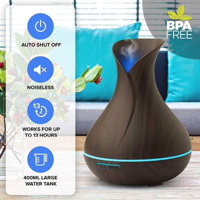Essential Oil Diffusers Aroma Diffusers Scented Oil diffusers Ultrasonic Humidifier Cool Mist Humidifier Air Purifier 400ML