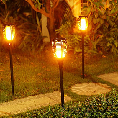 High Quality IP65 Waterproof Solar Path Torches Lights Dancing Flame Lighting 96 Led Flickering Torch Light 2 Pack