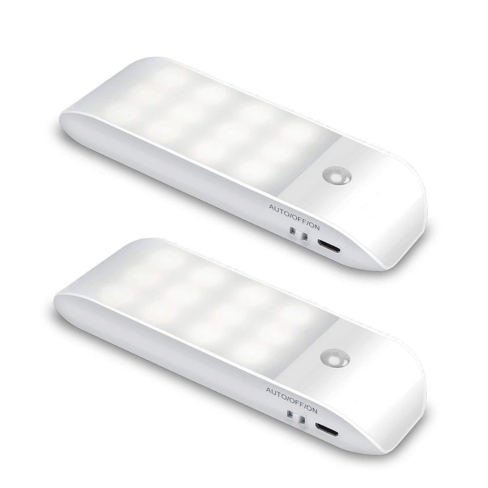 Motion Sensor Light, [2 Pack] Cupboard Night Light, USB Rechargeable Battery Powered Light with 12 LED, Removable Magnetic Strip Stick-On Wardrobe, Closet, Cabinet, Kitchen, Stairs, etc