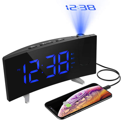 Multifunctional Projector Digital Radio Table Alarm Clock With Usb Charger Port