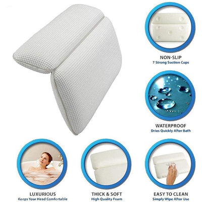 "Spa Bath Pillow Features Powerful Gripping Technology, Comfortable, Soft & Large (14.5"" x 11"") Luxury 2-Panel Design for Shoulder & Neck Support, Great For Hot Tub, Jacuzzi, Spas"