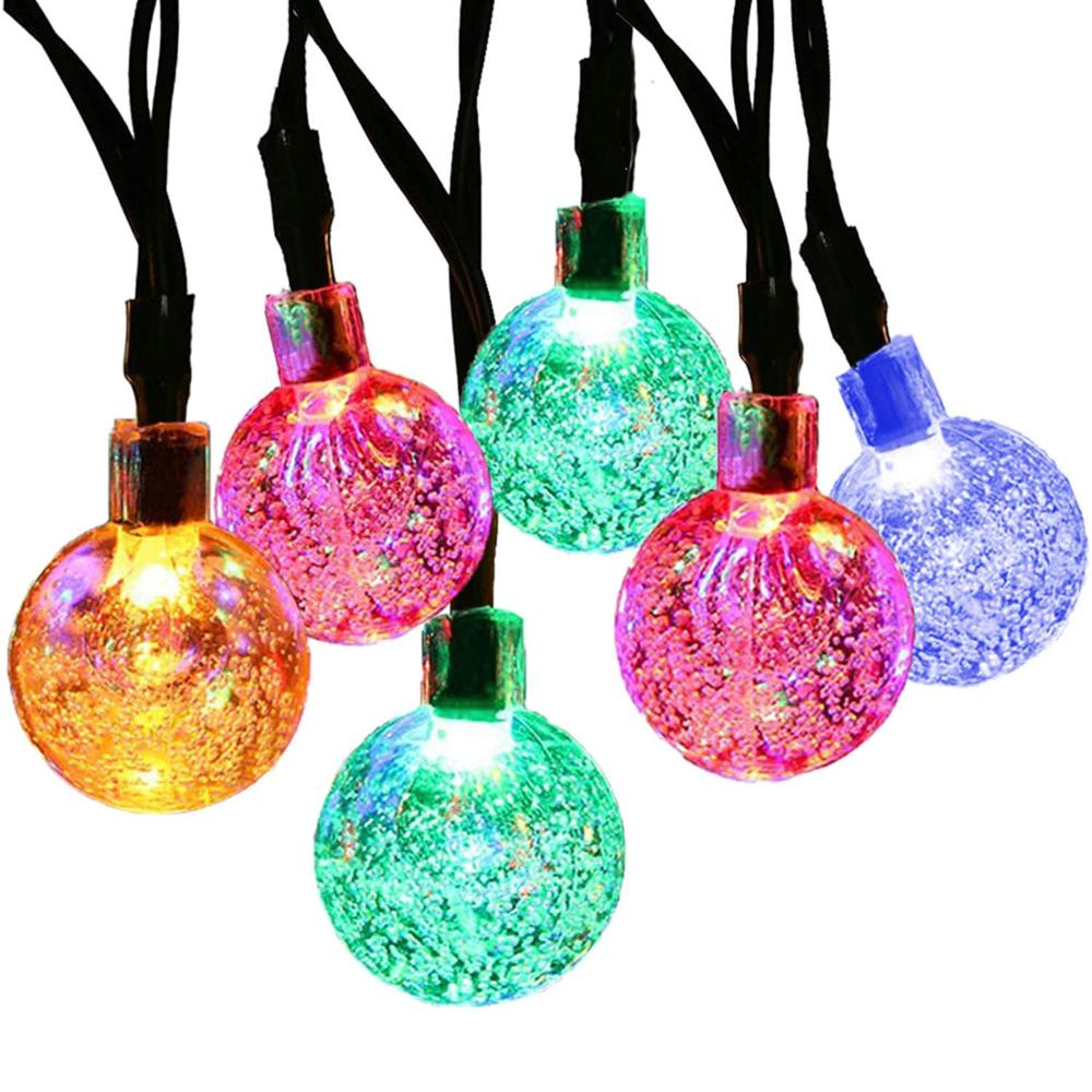 RGB/Cold White/Warm White Solar Bubble Crystal Ball String Lighting Outdoor Patio String Christmas Decorative Lights