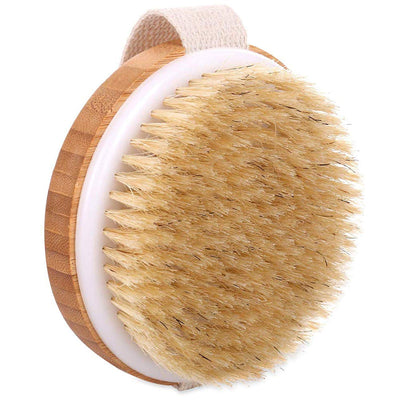 Remove Dead Skin and Toxins Cellulite Treatment Round Massager Brush Scrubber Kit Bamboo Bath Brush