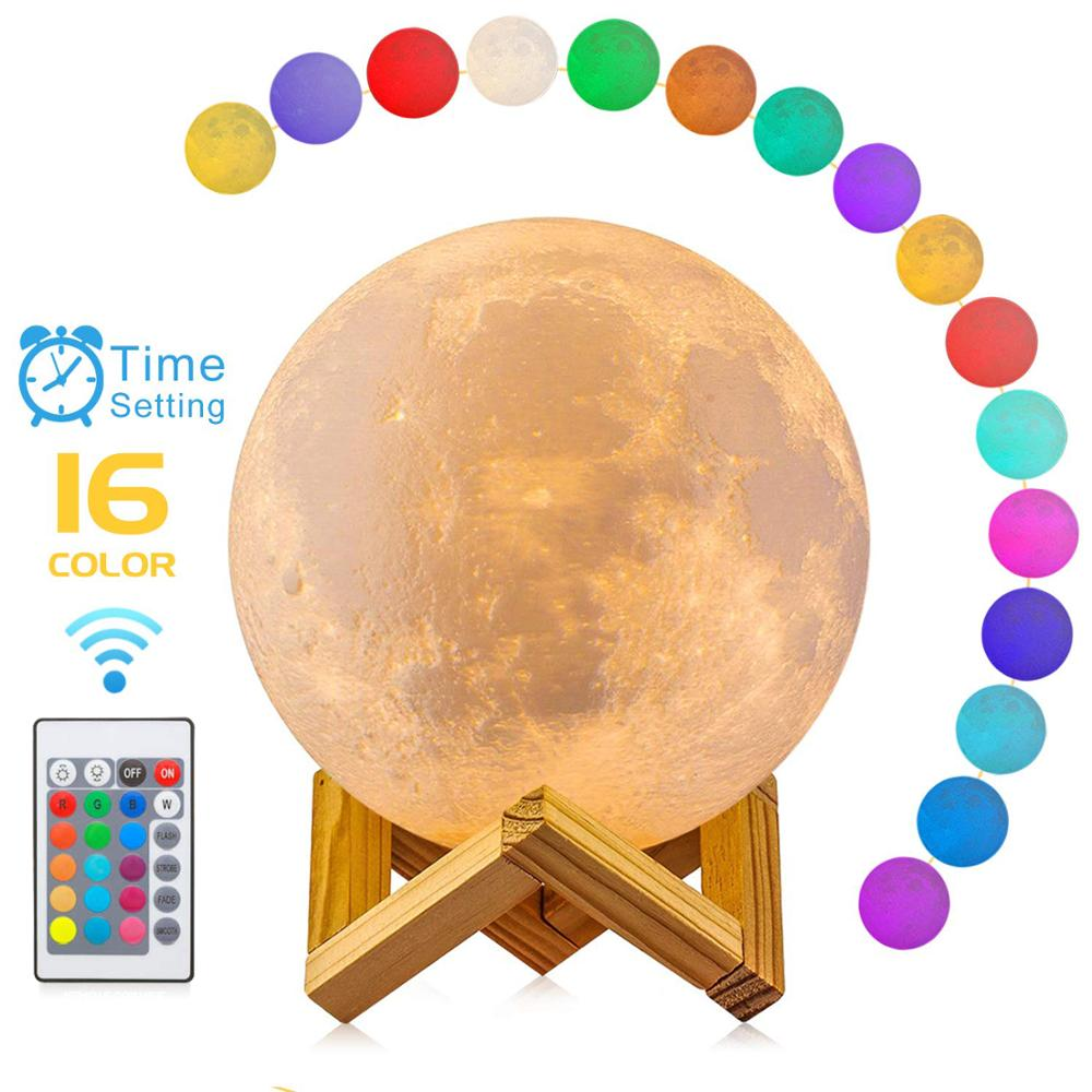 Moon Lamp, 16 Colors LED 3D Print Moon Light with Stand & Remote&Touch Control and USB Rechargeable, Moon Light Lamps for Kids Lover Birthday Gifts(Diameter 4.8 INCH)