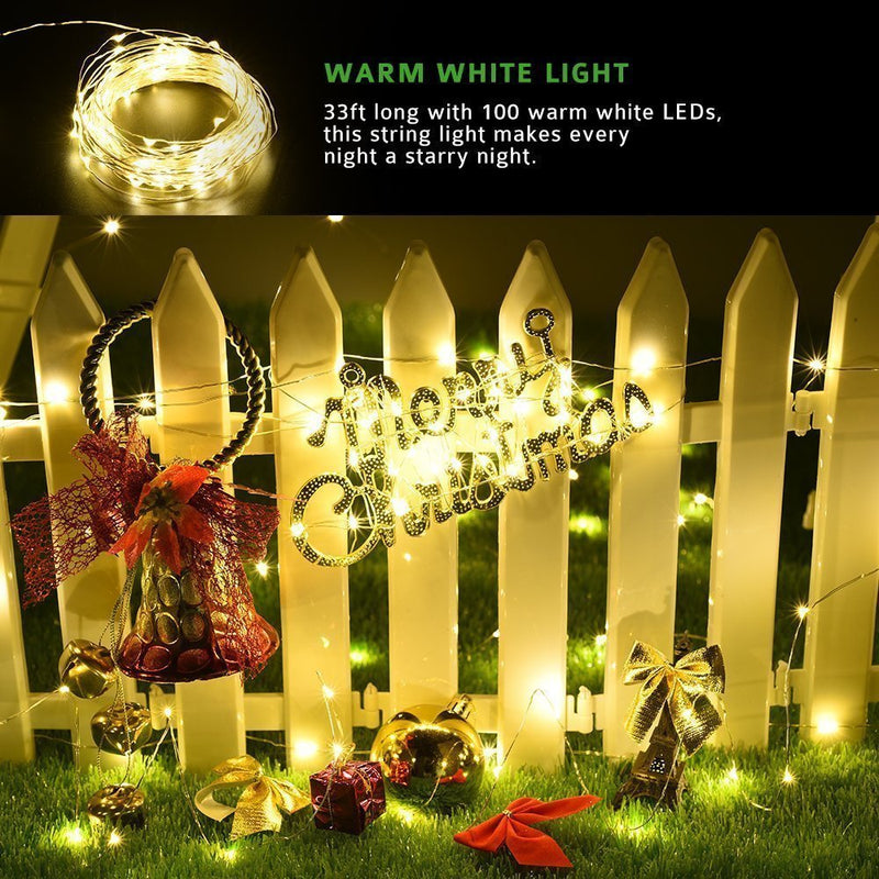Upgraded Solar Powered String Lights, 100 LED Copper Wire Lights, Fairy Lights, Indoor Outdoor Waterproof Solar Decoration Lights for Gardens, Home, Dancing, Party, Christmas (Warm White - Pack of 2)