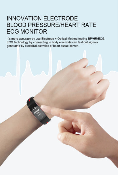PPG ECG Smart Bracelet Blood Pressure Body Fit Heart Rate Monitor Smart Watch / Smart Bracelet Heart Rate Monitor Blood Pressure Monitor Sports Pedometer Watches for Android Ios Bluetooth