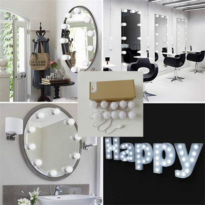 Hollywood Style LED Vanity Mirror Lights Kit with Dimmable Light Bulbs, Lighting Fixture Strip for Makeup Vanity Table Set in Dressing Room (Mirror Not Include)