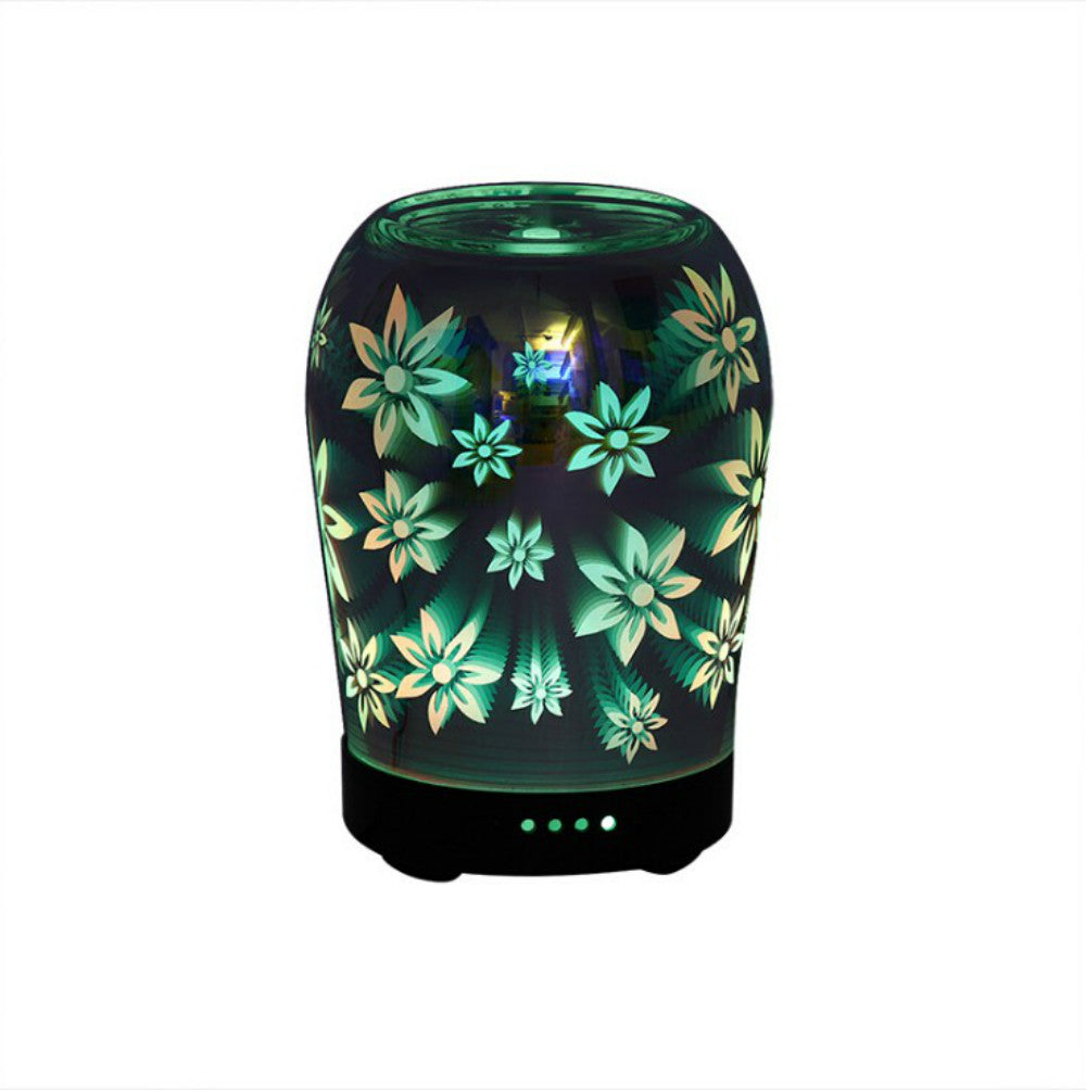 Flower Image Effect 3D Glass 100ml Aroma Diffuser, Aromatherapy Essential Oil Air Aroma Diffuser with 7 colorful led change