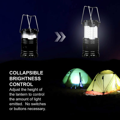 2 Pack LED Camping Lantern Portable Flashlights with 6 AA Batteries - Survival Kit for Emergency, Hurricane, Outage