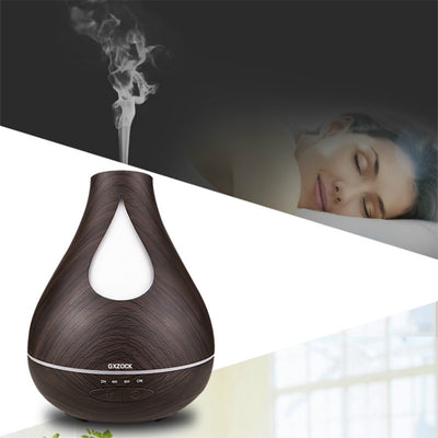 Ultrasonic Humidifier Aromatherapy 530ml Mist Maker Aroma Essential Oil Light Wooden Grain Diffuser  ,530ML Capacity Water Drop 7 color changing Ultrasonic Aroma Diffuser Humidifier for spa hotel