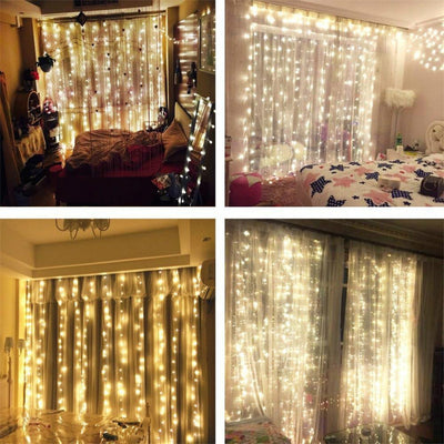 String lights Curtain, 300 LED Icicle Wall Lights, Fairy Indoor Starry Lights 8 Mode for Party Wedding Home Patio Lawn Garden