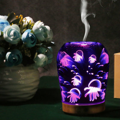 3D Essential Oil Diffuser 100ml Glass Aromatherapy Ultrasonic Cool Mist Humidifier with 3D Effect Night Light and Auto Shut-Off
