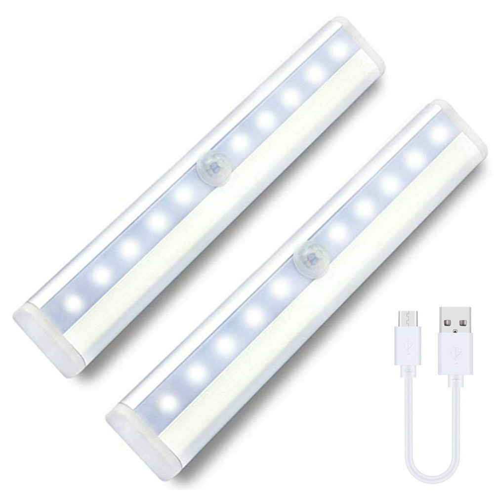 USB Rechargeable Closet Lights Motion Sensor 10 LED Portable Wireless Light Bar Cabinet Kitchen closet Night Light with Magnet 2 Pack