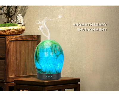 Essential Oil Diffuser 100ml Handmade Glass Art Intermittent Setting Ultrasonic Aroma Cool Mist Humidifier