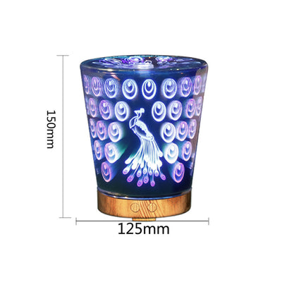 3D Aromatherapy Humidifier Creative Peacock Pattern Nightlamp Ultrasonic Diffuser Color Changing Humidifier
