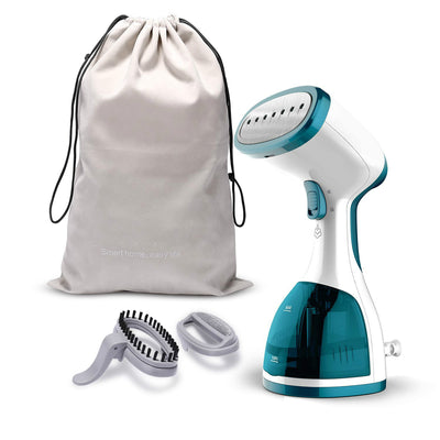 Clothes Garment 5 in 1 Handheld Fabric Steamer Wrinkle Remover with Fast Heat-up Function for Home and Travel [Satisfaction Guarantee], Green, Small