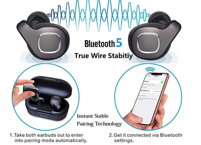 True Wireless Earbuds Bluetooth Earphones, Noigoa Auto Pairing Bluetooth 5.0 Headphones with Mic & Charging Case 18H Playtime