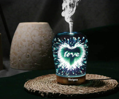 Spherical Shape Star Style Cool Mist Humidifier Color Changing 100ML 3D Light Ultra-quiet Aromatherapy Diffuser ,7 Color Transformation Fresh Air Creative Heart Shape 3D Aromatherapy Humidifier
