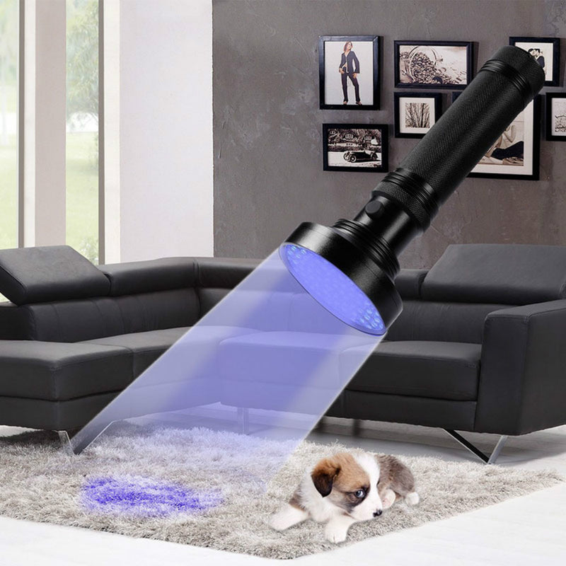UV Black Light Flashlight 100 LED #1 Best UV Light and Blacklight For Home & Hotel Inspection, Pet Urine & Stains - Ultra Intensity 18W 385-395nm LEDs Spot Counterfeit Money, Leaks, Scorpions!