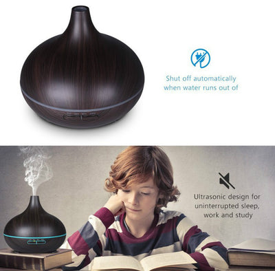 300ml Essential Oil Diffuser, Wood Grain Ultrasonic Aroma Cool Mist Humidifier for Office Home Bedroom Baby Room Study Yoga Spa(Deep Brown)