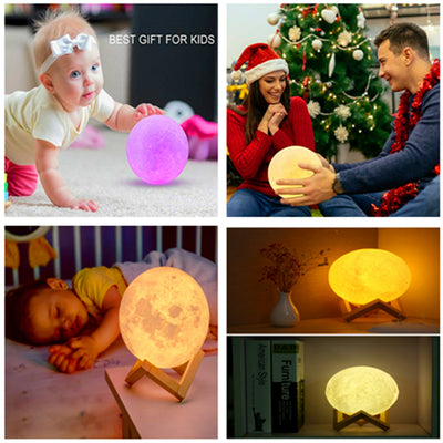Romantic USB Charge Warm and Cool White Dimmable Touch Control Moon Lamp 3D Printed Lunar Night Light