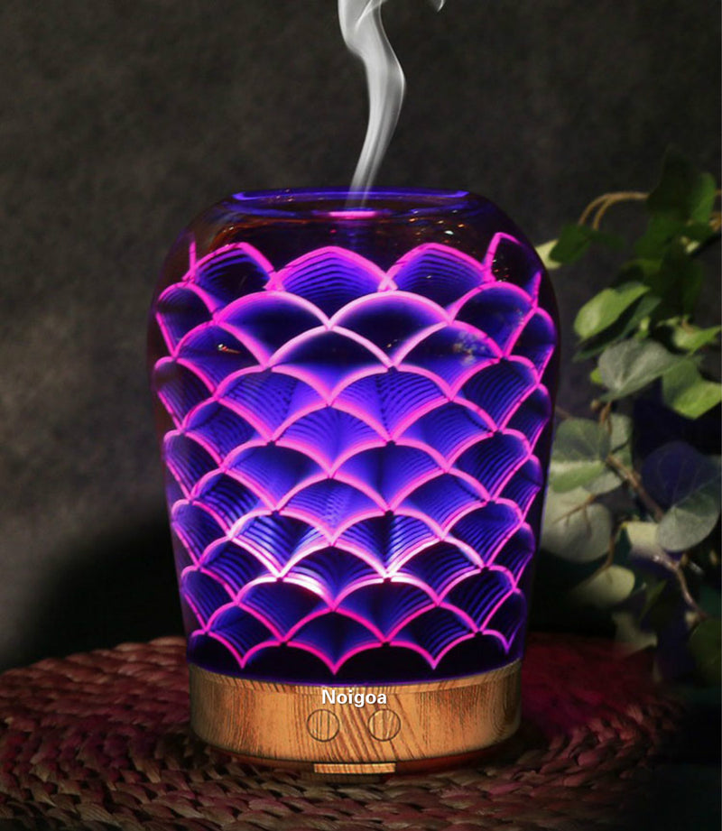 Multi Function Clean Air Ultrasonic 3D Aromatherapy Humidifier / 7 Colors 3D LED Light Firework Wooden Base Essential Oil Diffuser Humidifier, Aromatherapy Diffuser