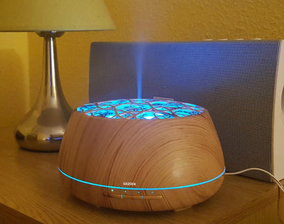 Essential Oil Diffuser with Bluetooth Speaker, 400ml Wood Grain Aroma Diffuser,8 Colors LED Lights Auto Shut-off,Cool Mist Ultrasonic Humidifier