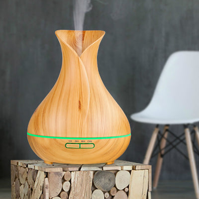 400ml Wood Grain Ultrasonic Aroma Essential Oil Diffuser with 4 Time Setting 7 Color LED Lights Changing