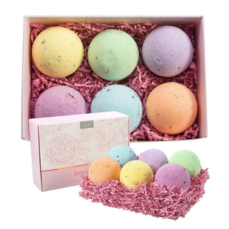 Bath Bombs Gift Set, 6 x 4.0 oz Vegan Natural Essential Oils & Dry Flowers, lush Fizzy Spa Moisturizes Dry Skin, Bubble Baths, Perfect Gift Kit Ideas for Girlfriends, Women, Moms