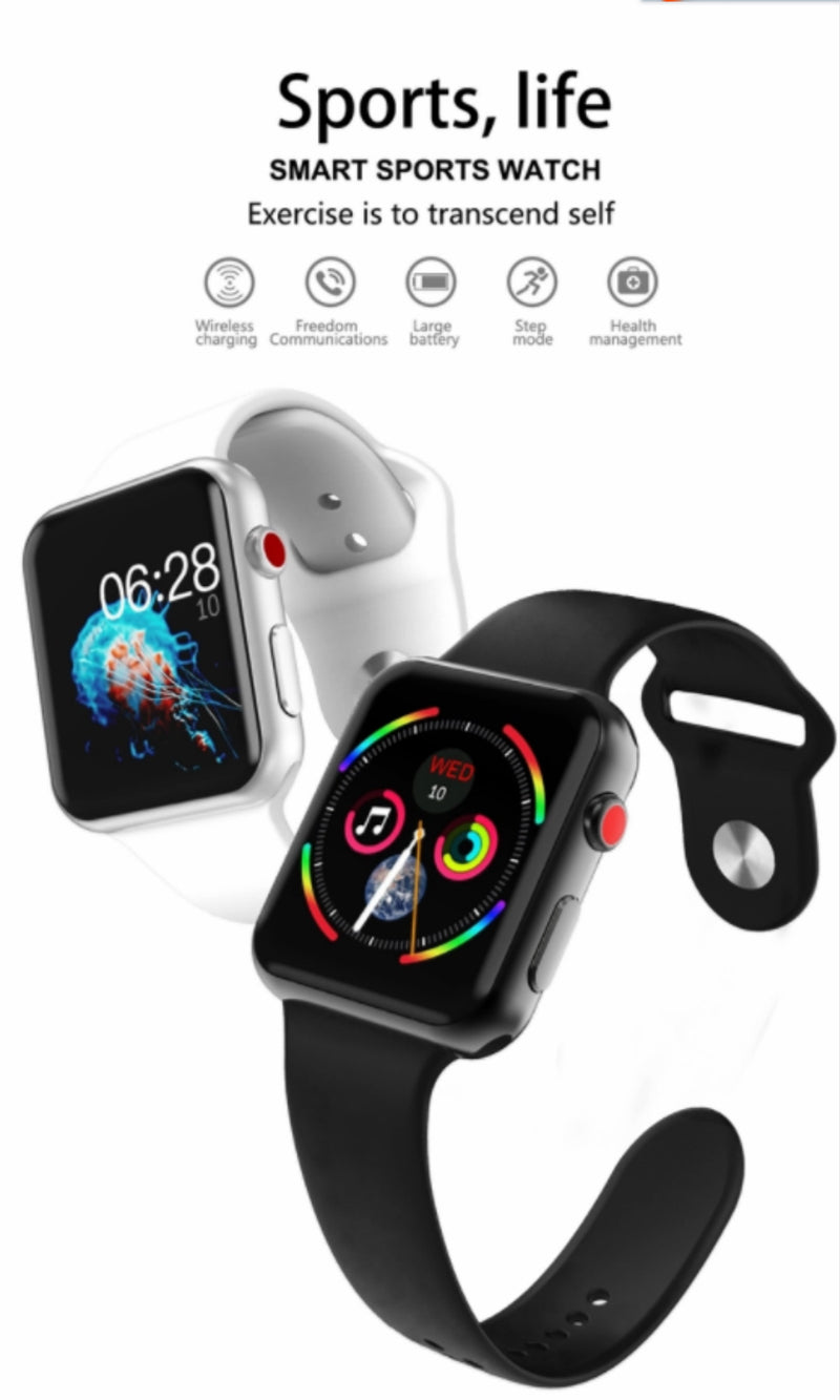 Heart rate smart watch 4 sensor monitor wireless charging voice control siri smart watch for iphone iwo 8 and iwo 9