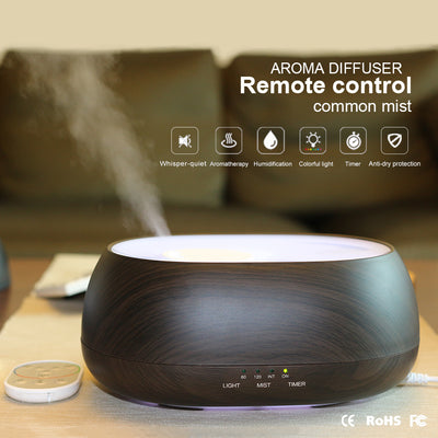 500ml home ultrasonic aroma diffuser with IR Remote Control / Large Capacity 500ml Wooden Grain Aroma Diffuser For Spa Room