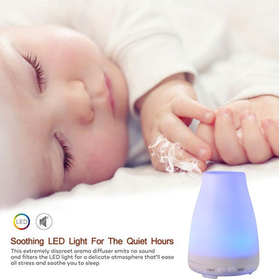 GXZOCK 120ml Ultrasonic Aroma Diffuser with 7 Colorful LED Lights, Aromatherapy Essential Oil Diffuser, Cool Mist Humidifiers,Good for Sleeping and Relaxation, Let's Enjoy New New Lifestyle.