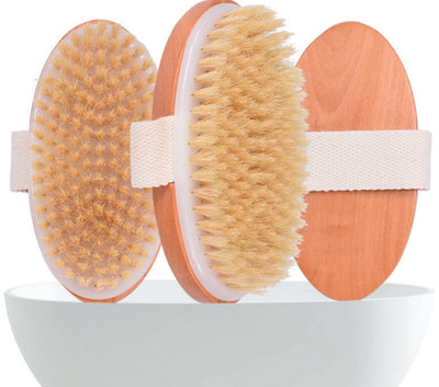 Dry Brushing Body Brush - Exfoliating Brush - Natural Bristle Dry Brush for Remove Dead Skin Toxins Cellulite,Treatment,Improves Lymphatic Functions,Exfoliates,Stimulates Blood Circulation,Single-Oval