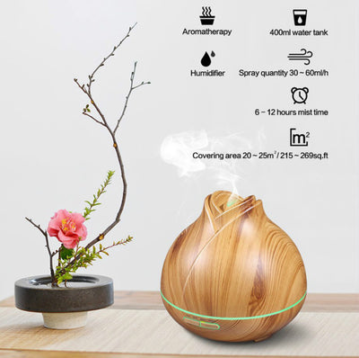 400ML Essential Oil Diffuser Quiet 5-in-1 Humidifier Natural Home Fragrance Diffuser with 7 LED Color Changing Light