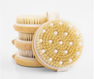 Body Brush for Wet or Dry Brushing - Gentle Exfoliating for Softer, Glowing Skin - Get Rid of Your Cellulite and Dry Skin, Improve Your Circulation - Gentle Massage Nodes