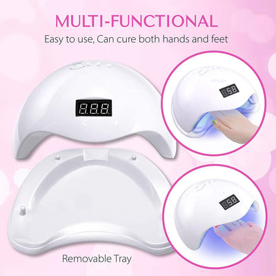 UV LED Nail Lamp for Gel Nail Polish UV Light with 4 Timers 10s/30s/60s/99s 36W SUN5