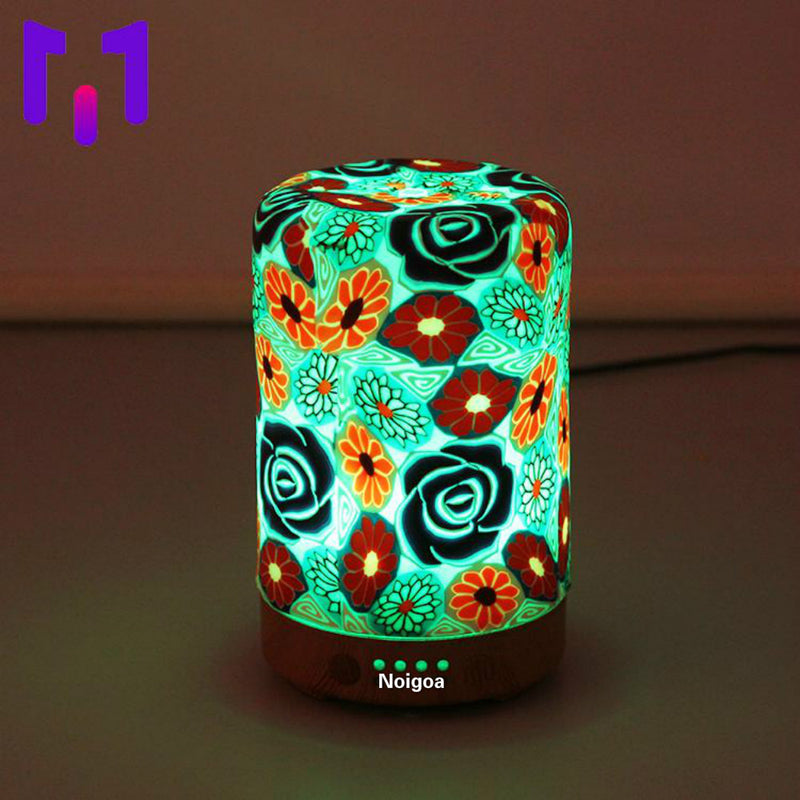 mini air atomizing wooden humidifier essential oil diffuser - 7 Color Changing LEDs, Waterless Auto-Off,Timer Setting, BPA Free for Home Hotel Yoga Leisure SPA Gift
