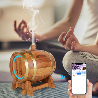 Smart App Aroma Diffuser Cool-Mist Atomization Machine Beer Barrel Fragrance Bluetooth Speaker Humidifier